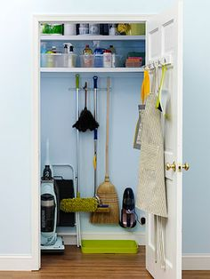 If you're lucky enough to have a dedicated broom closet, make sure that the space is working overtime.  Install individual broom and mop hooks or strips with multiple wire shelving holders to hang on the inside of the closet. If there's an outlet in the closet, install the Dust Buster there. If not, look for a convenient location near an outlet where it can be mounted on the wall.