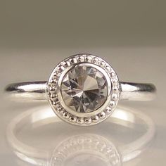 Granulated Herkimer Diamond Engagement Ring in Recycled Sterling Silver