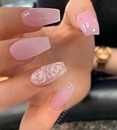 Coffin nails are a popular shape, and their popularity has not diminished at all. Long coffin nail art designs are the most common for women who like to attract people's attention with its striking appearance. But short coffin nail art designs are al Cute Nail Art Designs, Acrylic Nail Designs, Pink Nail Designs, Design Ideas, Gorgeous Nails, Pretty Nails, Amazing Nails, Pink Acrylic Nails, Long Nails