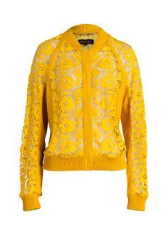 Ein modisches Highlight ist diese Lederjacke in warmem Sonnengelb.
