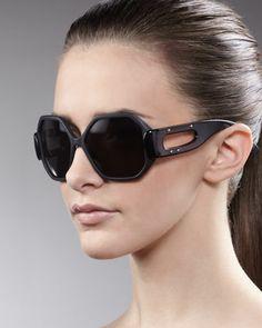 Octagonal Enamel Sunglasses, Black by Balenciaga at Neiman Marcus.