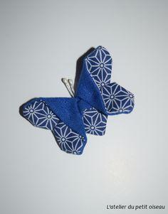 Pince papillon japonais saki bleu blanc