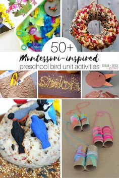 50 Montessori preschool bird unit activities perfect for Spring or Fall unit studies when kids are obsessed with birds Includes bird sensory play language math geography. Montessori Preschool, Preschool Themes, Preschool Science, Preschool Learning, Science Activities, Toddler Activities, Preschool Activities, Science Experiments, Bird Crafts Preschool
