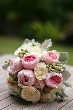 Pink and Ivory with silver foliage