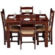 Four Seater Dining Table Set. Specially Crafted up of Rose Woods. A GoRevizon's Dining Table Set for Modern Homes. Four Seater Dining Table, Oak Dining Room Set, Wooden Dining Table Set, Dining Table Sizes, Dining Table Design, Dining Table In Kitchen, Dining Table Chairs, Dinning Set, Kitchen Corner
