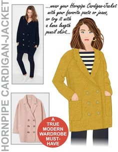 The Hornpipe Cardigan-Jacket sewing pattern from Hot Patterns, a cardigan or jacket which is double breasted with a semi relaxed silhouette. Sewing Patterns Free, Free Sewing, Dress Making Patterns, Modern Wardrobe, Fashion Sewing, Dressmaking, Coat, Womens Fashion, Sweaters
