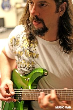 My guitar hero John Petrucci! With green Music Man guitar. Willie Dixon, Dream Theater, Guitar Players, Music Bands, My Music, Guitars, Musicals, Shots, Rock