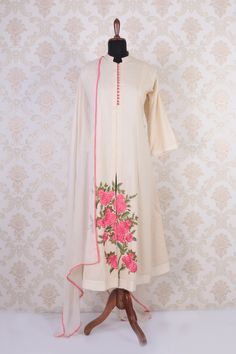 #Cream multicoloured #cotton umbrella cut #stylish #kameez with mandarin collar -SL4594