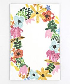 Floral Wreath Note Pad by Thimblepress Gifts For Colleagues, Watercolor Design, Garden Gifts, Doodle Drawings, Pen And Paper, Mail Art, Hostess Gifts, Holiday Gifts, Paper Goods