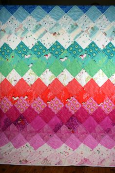 Wee Wander by Sarah Jane. Quilt made with rainbow pattern by Made by Rae and sewn by Amelie and Atticus!