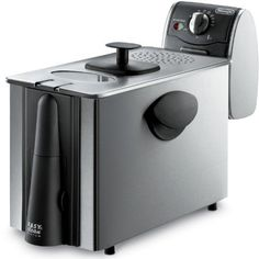 """Delonghi Stainless Steel Deep Fryer, Large 3 Lb Food Capacity, with Brushed Stainless Steel Housing, and Adjustable Temperature and Indicator Light, Features """"Cool Zone"""" Eliminating Odors and Smells, has Windowed Lid and Cool Touch Handles Includes a Safe Magnetic Plug *** Click image for more details."""