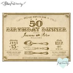 Adult Birthday Dinner Invite ANY AGES 40th 50th by AfterFebruary