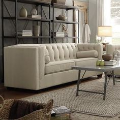Cairns Stationary Sofa with Tufted Back in Oatmeal