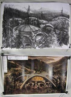 SGA Stargate Atlantis Production Used Wraith Facility Charcoal Concept Drawing | eBay #stargate