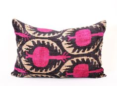 """""""Coral gardens"""" velvet ikat pillow that is embroidered geometric embroideries,and supervisor of the ikat weaving workshop"""