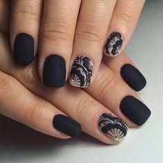 Matte Black Nail Design for Short Nails
