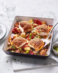 Chorizo-crumbed cod, pepper and olive traybake recipe Cod And Chorizo Recipes, Cod Recipes, Steak Recipes, Healthy Eating Recipes, Cooking Recipes, Diabetic Snacks, Delicious Magazine Recipes, Tray Bake Recipes, Lamb Dishes