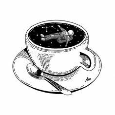 Coffee Drawing, Coffee Art, Space Drawings, Art Drawings, Galaxy Drawings, Ink Illustrations, Illustration Art, Coffee Illustration, Pen Art