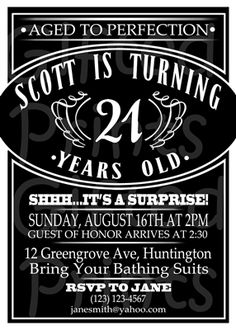 Birthday Invitation • Jack Daniel's 21st Theme • No cost economy shipping • Fast turnaround time • Great customer service • These birthday invitations are custom, high resolution digital files that are personalized for each customer upon order