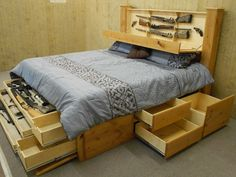 Bed frame for lots of storage... rare earth magnets act as hidden latches