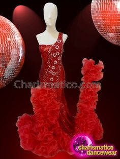 CHARISMATICO Deep red one shoulder glamour queen sequin sexy gown with chiffon trail Drag Queen Costumes, Drag Queen Outfits, Sequin Gown, Sequin Fabric, Sexy Gown, Dance Wear, Crystal Rhinestone, Floral Design, Trail