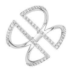 Silver Diamond Double Ring