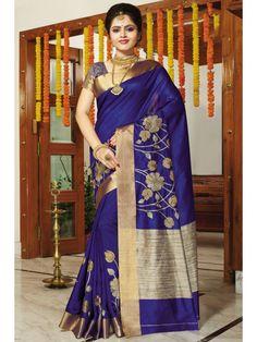 Lavish Navy Blue Floral Printed Saree