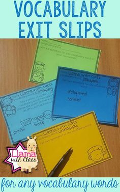 Great for upper elementary vocabulary. Use these exit slips for any vocabulary words! Vocabulary Strategies, Vocabulary Instruction, Vocabulary Activities, Vocabulary Words, Word Work Activities, Spelling Activities, Spelling Ideas, Upper Elementary, Elementary Schools