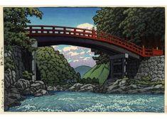 Hasui Kawase  Le pont Shinkyo à Nikko, 1953