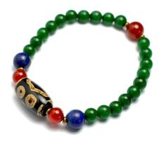 Elegant Dark Green Jade Bracelet with 3 Eyes Dzi Beads, 6 mm green jade, Length 7 Inches - Fortune Feng Shui Jewelry Feng Shui & Fortune Jewelry, http://www.amazon.co.uk/dp/B00IGY9Z9Y/ref=cm_sw_r_pi_dp_8Ehatb1FAGAF8
