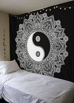 Black And White Tapestry YinYang Wall Hanging Tapestry Mandala Tapestries Indian Traditional Cotton Printed Bohemian Hippie Small Wall Art by SheetKart