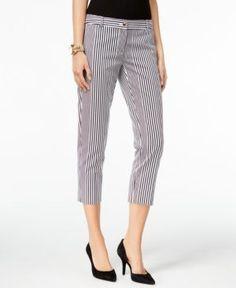 Michael Michael Kors Miranda Striped Cropped Pants - White 16