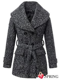Grey Lapel Double-breasted Slim long Wool tweed coat