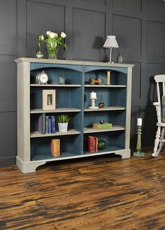 We love this Ducal bookcase with its elegant curve front and ample storage. Painted in Annie Sloan Aubusson Blue and Paris Grey and lightly distressed and aged, it's the perfect piece for a hallway or lounge! Refurbished Bookshelf, Old Bookcase, Refurbished Furniture, Upcycled Furniture, Shabby Chic Furniture, Furniture Projects, Furniture Makeover, Vintage Furniture, Home Furniture