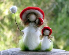 Waldorf inspired doll Needle felted doll Red Mushroom doll Mother doll Felted doll Kids room decor Montessori