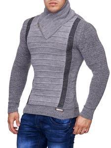 K&D Men Stylish 2 Line Mock Neck Zipper Sweater - Gray