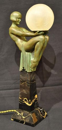 MAX LE Verrier Enigme Sculpture Lamp ART Deco 1930"