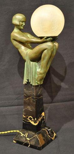 "Max Le Verrier Enigme Sculpture Lamp Art Deco 1930""   eBay"
