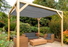 The pergola kits are the easiest and quickest way to build a garden pergola. There are lots of do it yourself pergola kits available to you so that anyone could easily put them together to construct a new structure at their backyard. Backyard Shade, Backyard Canopy, Garden Canopy, Pergola Canopy, Canopy Outdoor, Outdoor Pergola, Pergola Shade, Diy Pergola, Pergola Ideas