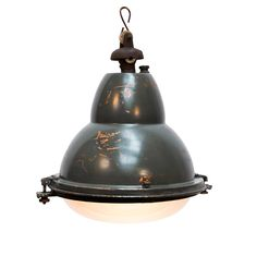 View this item and discover similar for sale at - Rare French factory pendant with rounded glass. Metal with frosted glass. Chandelier Pendant Lights, Modern Chandelier, Chandeliers, Vintage Industrial Lighting, Industrial Lamps, Antique Furniture, Modern Furniture, Factory Lighting, Bulb