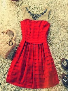 Red Round Neck Sleeveless Sequined Pleated Polyester Tiered Dress :) lovin the old style! Pretty Outfits, Cute Outfits, Salmon Dress, Tiered Dress, Facon, Classy And Fabulous, Dress Me Up, Playing Dress Up, Passion For Fashion