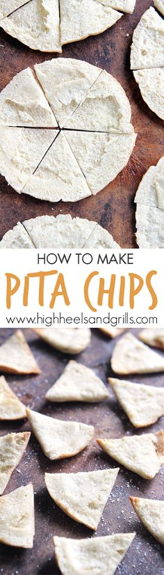 How to Make Pita Chips, the easy way. These are so good and taste way better than store bought pita chips. Much more crispy and crunchy the day you make them but still pretty tasty afterward Yummy Snacks, Healthy Snacks, Yummy Food, Appetizer Recipes, Snack Recipes, Cooking Recipes, Appetizers, Baked Pita Chips, Pita Chips Recipe