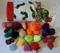 Make time for this - perfect for Meara's 2nd birthday! (Ravelry: LittleJennieWren's The Very Hungry Caterpillar Menu Toy Bag.)