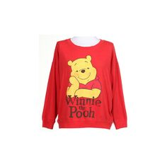 90s Red Winnie The Pooh Sweatshirt ❤ liked on Polyvore featuring tops, hoodies, sweatshirts, red sweatshirt and red top