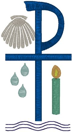 St James Cross With Baptism Shell Embroidery Design