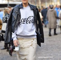 moto & coke... look at the texture on that skirt. Paris.