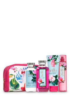 Hello Beautiful Floral Cosmetic Bag Gift Set by Bath & Body Works Shoe Poster, Cosmetic Bag Set, Gift Baskets For Women, Fragrance Mist, Hello Beautiful, Smell Good, Shower Gel, Body Wash, Gifts For Family