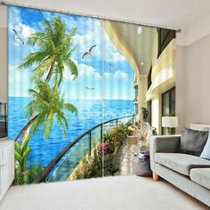 Blue Sky and Sea Seeing from Balcony Print Blackout Curtain on sale, Buy… 3d Curtains, Printed Curtains, Curtains For Sale, Custom Curtains, Blackout Curtains, Australia Photos, Bedroom Windows, Shop Window Displays, Yurts