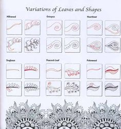 Zentangle Tutorials / Zen Mandalas Variations of Leaves and Shapes Zentangle Drawings, Doodles Zentangles, Zentangle Patterns, Doodle Drawings, Mandala Pattern, Doodle Art, Tangle Doodle, Zantangle Art, Zen Art