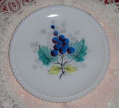 Vtg Westmoreland Beaded Edges White Milk Glass Plate Blueberries Fruit Dish #Westmoreland